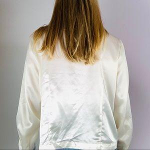 Vintage Tops - Vintage White Satin Lace Trim Double Breast Blouse